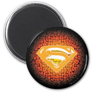 Superman Stylized   Crackle Logo 2 Inch Round Magnet