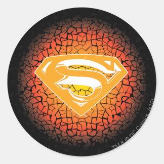 Superman Stylized   Crackle Logo Classic Round Sticker