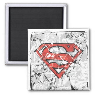 Superman Stylized | Crumpled Comic Logo 2 Inch Square Magnet