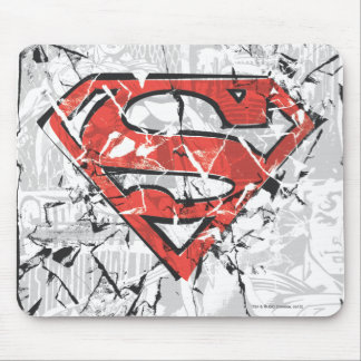Superman Stylized | Crumpled Comic Logo Mouse Pad