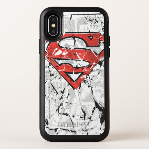 Superman Stylized | Crumpled Comic Logo OtterBox Symmetry iPhone X Case