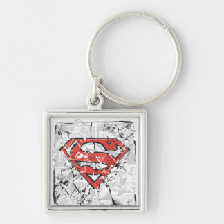 Superman Stylized | Crumpled Comic Logo Silver-Colored Square Keychain