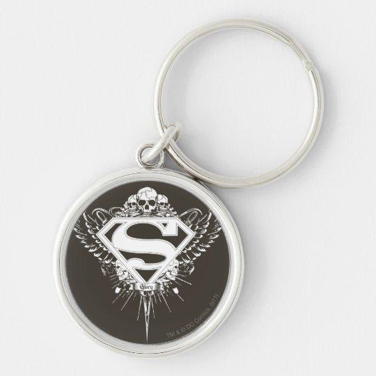 Superman Stylized | Dark Brown Background Logo Keychain