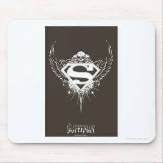 Superman Stylized | Dark Brown Background Logo Mouse Pad