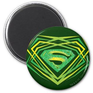 Superman Stylized | Green Decorative Logo 2 Inch Round Magnet