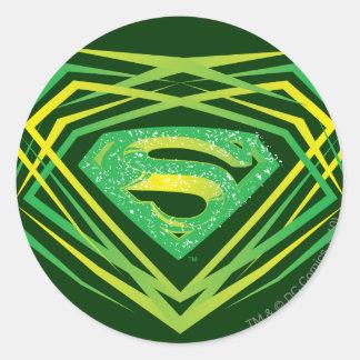 Superman Stylized   Green Decorative Logo Classic Round Sticker