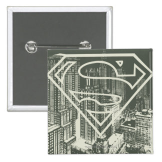 Superman Stylized | Green Metropolis Logo Pinback Button