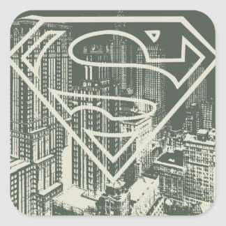 Superman Stylized | Green Metropolis Logo Square Sticker