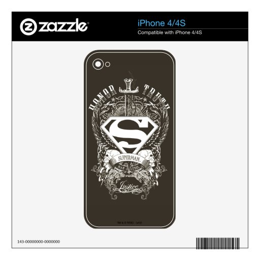 Superman Stylized | Honor, Truth and Justice Logo Skin For iPhone 4