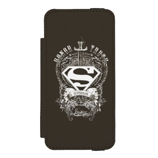 Superman Stylized | Honor, Truth on White Logo Wallet Case For iPhone SE/5/5s