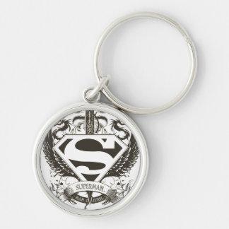 Superman Stylized | Honor, Truth on White Logo Keychain