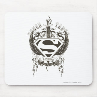 Superman Stylized | Honor, Truth on White Logo Mouse Pad