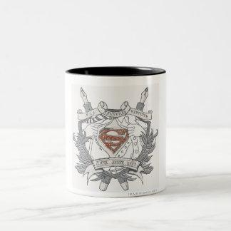 Superman Stylized | Mild Mannered Reporter Logo Two-Tone Coffee Mug