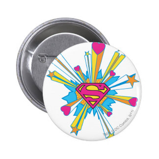 Superman Stylized | Pink with Hearts Logo Button