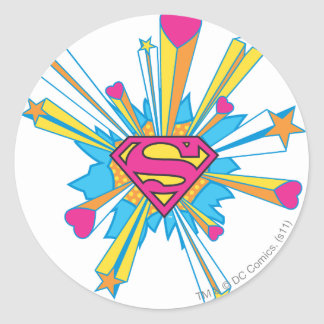 Superman Stylized | Pink with Hearts Logo Classic Round Sticker