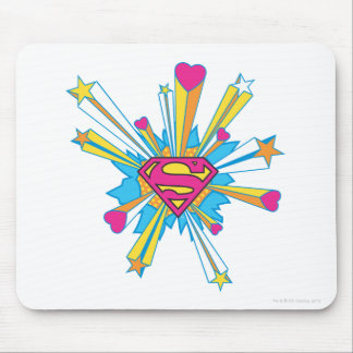 Superman Stylized | Pink with Hearts Logo Mouse Pad