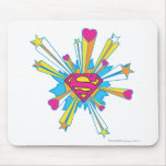 Superman Stylized   Pink with Hearts Logo Mouse Pad
