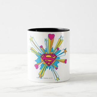Superman Stylized | Pink with Hearts Logo Two-Tone Coffee Mug
