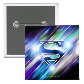 Superman Stylized | Shiny Blue Burst Logo Button