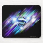 Superman Stylized | Shiny Blue Burst Logo Mouse Pad