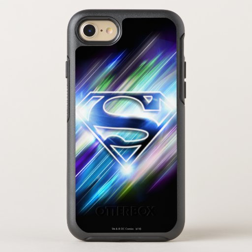 Superman Stylized | Shiny Blue Burst Logo OtterBox Symmetry iPhone SE/8/7 Case