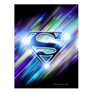Superman Stylized | Shiny Blue Burst Logo Postcard