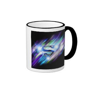 Superman Stylized | Shiny Blue Burst Logo Ringer Mug
