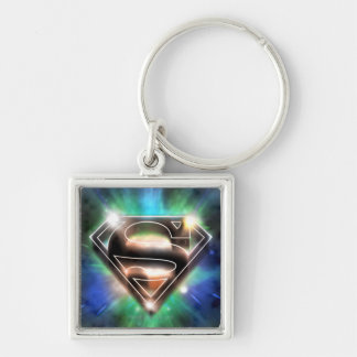 Superman Stylized | Shiny Burst Logo Silver-Colored Square Keychain