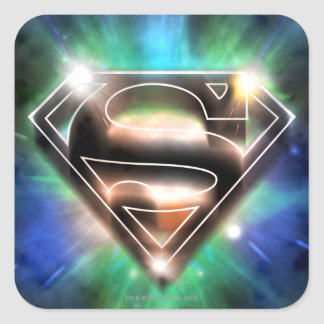 Superman Stylized | Shiny Burst Logo Square Sticker