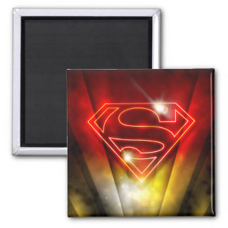 Superman Stylized | Shiny Red Outline Logo 2 Inch Square Magnet
