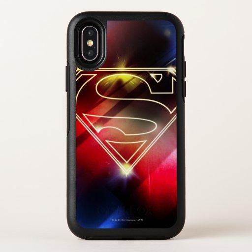 Superman Stylized   Shiny Yellow Outline Logo OtterBox Symmetry iPhone X Case