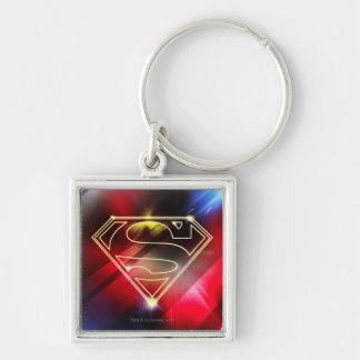 Superman Stylized | Shiny Yellow Outline Logo Silver-Colored Square Keychain
