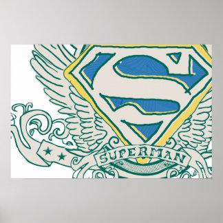 Superman Stylized | Sketched Crest Logo Poster