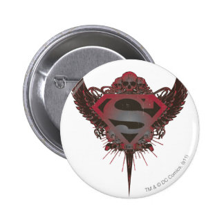 Superman Stylized | Skull and Wings Logo Button