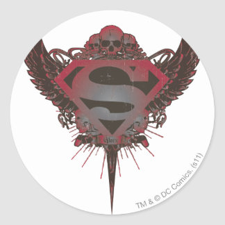 Superman Stylized   Skull and Wings Logo Classic Round Sticker