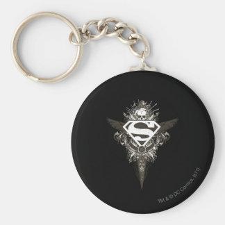 Superman Stylized   Star and Skull White Logo Keychain