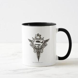Superman Stylized   Star and Skull White Logo Mug