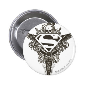 Superman Stylized | Star and Skull White Logo Pinback Button