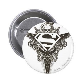 Superman Stylized | Star and Skull White Logo Pinback Button
