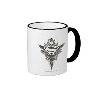 Superman Stylized | Star and Skull White Logo Ringer Mug