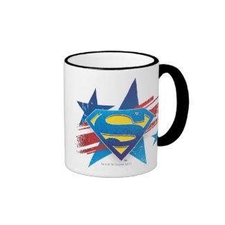 Superman Stylized | Stars and Stripes Logo Ringer Mug