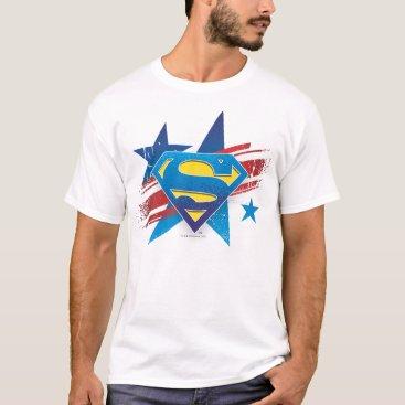 superman Superman Stylized | Stars and Stripes Logo T-Shirt