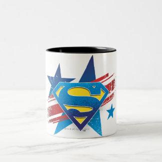 Superman Stylized | Stars and Stripes Logo Two-Tone Coffee Mug