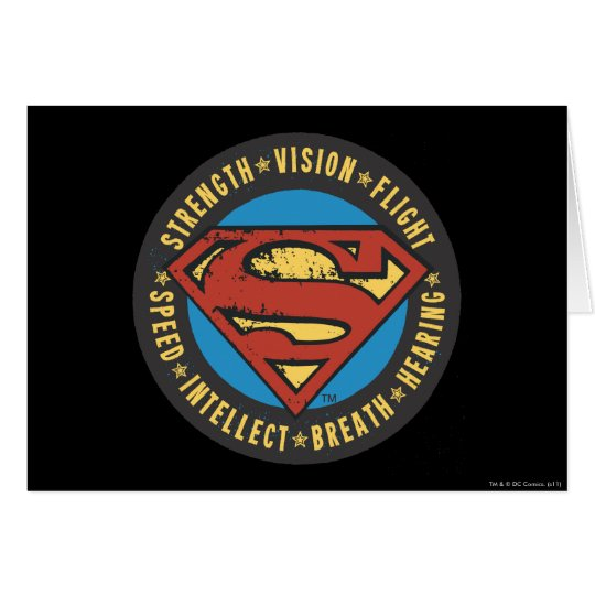 Superman Stylized   Strength Vision Flight Logo Card