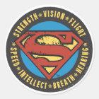 Superman Stylized   Strength Vision Flight Logo Classic Round Sticker