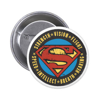 Superman Stylized | Strength Vision Flight Logo Pinback Button