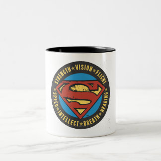 Superman Stylized | Strength Vision Flight Logo Two-Tone Coffee Mug