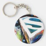 Superman Stylized   Urban Graffiti Logo Keychain