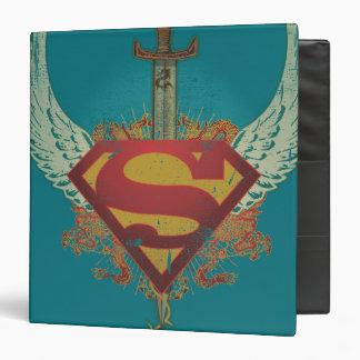 Superman Stylized   Wings Teal Background Logo Binder