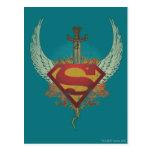 Superman Stylized   Wings Teal Background Logo Postcard